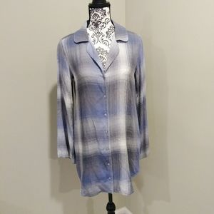 Cloth & Stone Plaid Button Up Tunic Top